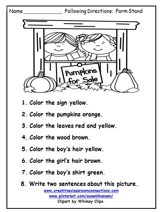 This following directions worksheet provides great reading and – Directions Worksheet