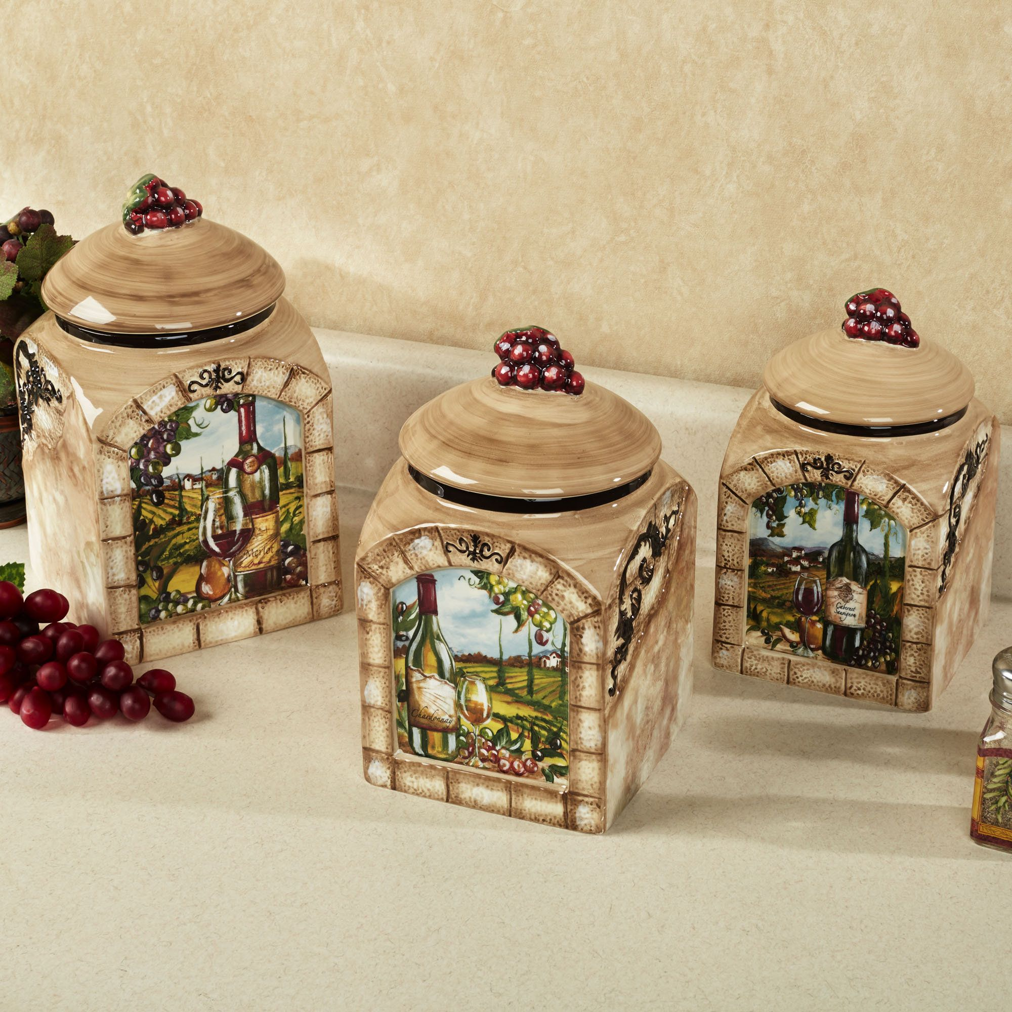 themed kitchen canisters tuscan view kitchen canister set wine theme kitchen