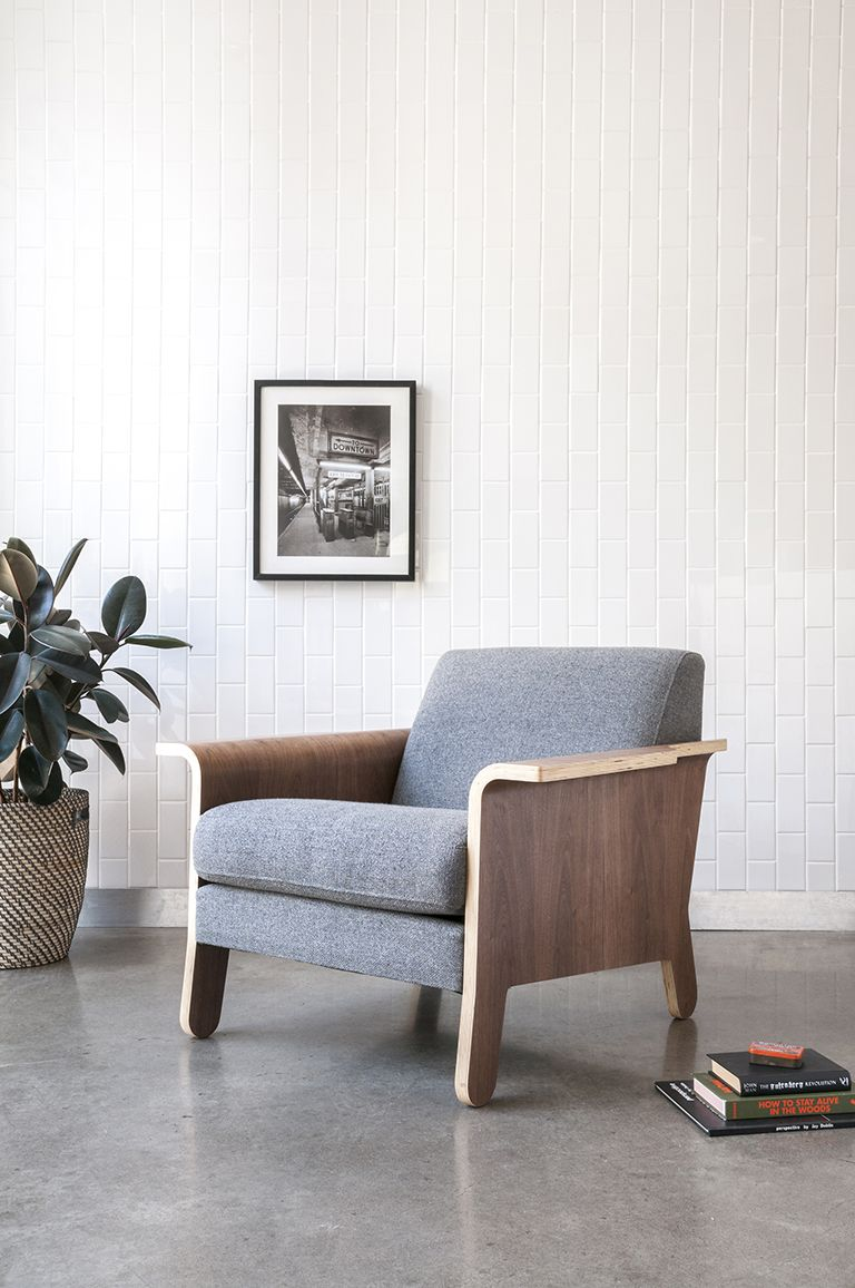 Gus modern the lodge chair is a contemporary club chair with playful bent ply arms and a sculptural profile this unique design is available with fabric