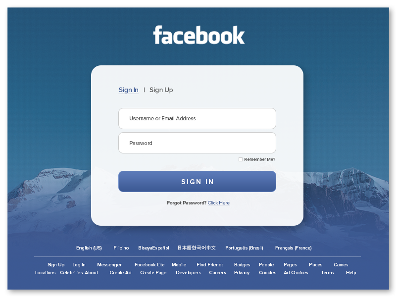 Facebook Log In Page Product page, Facebook, Sign i