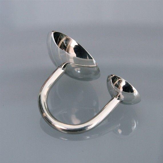 Silver ring 2 cups big white van andreasschiffler op Etsy