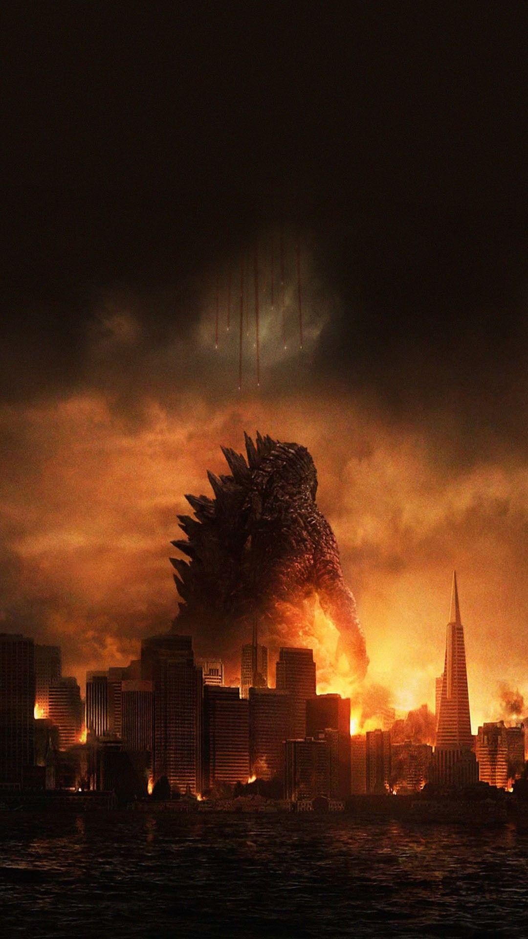 Godzilla Destroying City Movie Poster Smartphone Wallpaper And Lockscreen Hd Godzilla Wallpaper Godzilla Android Wallpaper