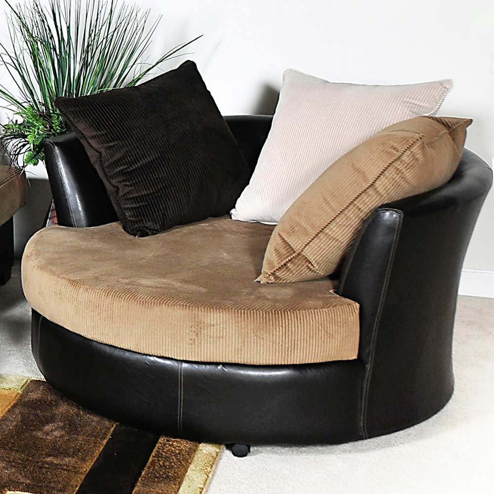 Found It At Www Dcgstores Com Domino Round Lounge Chair Casters Multi Toned Pillows Round Sofa Chair Swivel Chair Living Room Chelsea Home Furniture