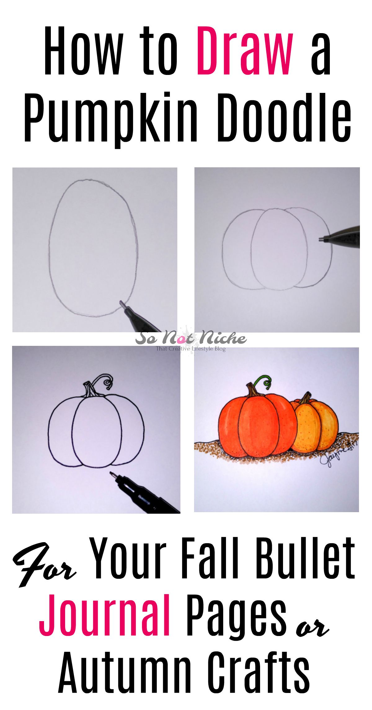 How to draw a cute pumpkin doodle for fall decor and