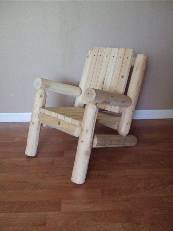 Log Adirondack Chair   Kids Childrens   Outdoor Furniture Cedar Home Lodge  Cabin