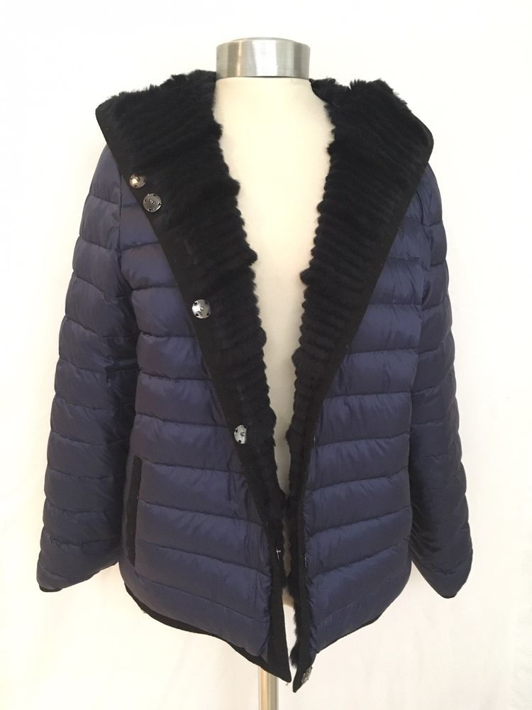 2256a2135 Designer TORI BURCH Navy Blue Puffer Coat AND Rabbit FUR REVERSIBLE ...