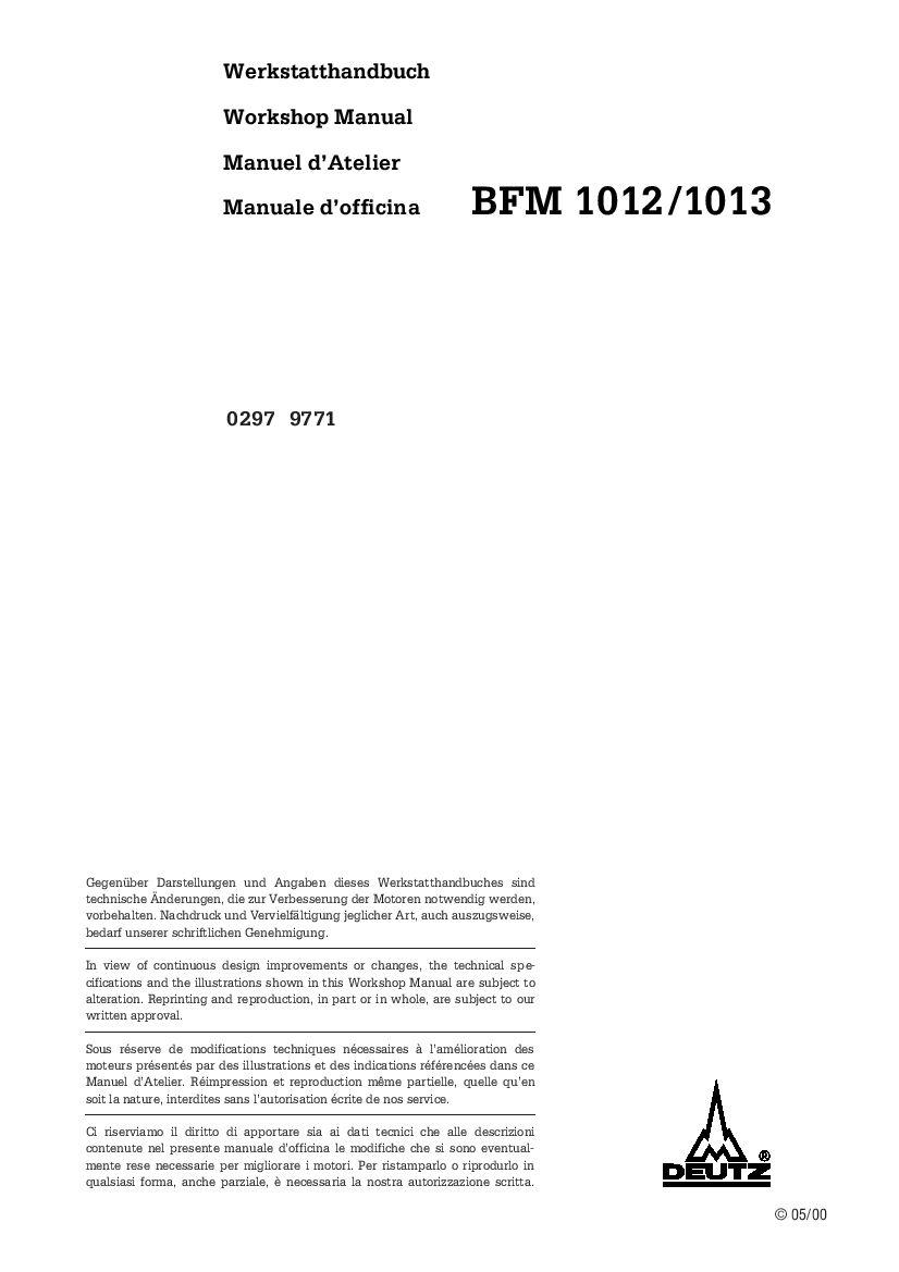 Deutz Fahr Engines Deutz Bfm 1012 1013 Deutsch Service Workshop Manual Pdf Download Windows Versions Repair Manuals Repair And Maintenance