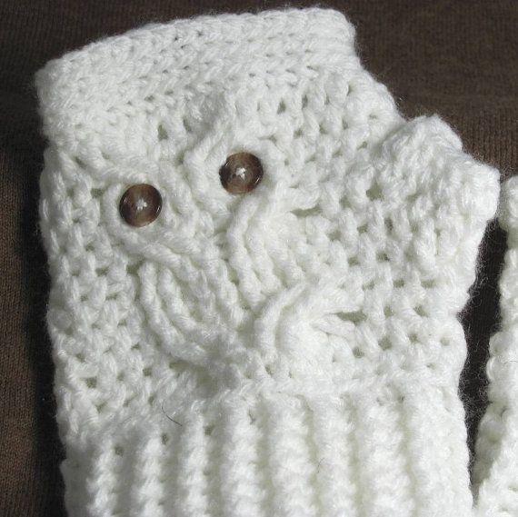 Owl Wrist Warmers, White Children\'s Fingerless Gloves, Crochet Owl ...