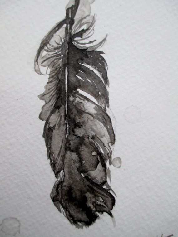 Handmade Original India Ink Painting Of A Feather By Kate Transue