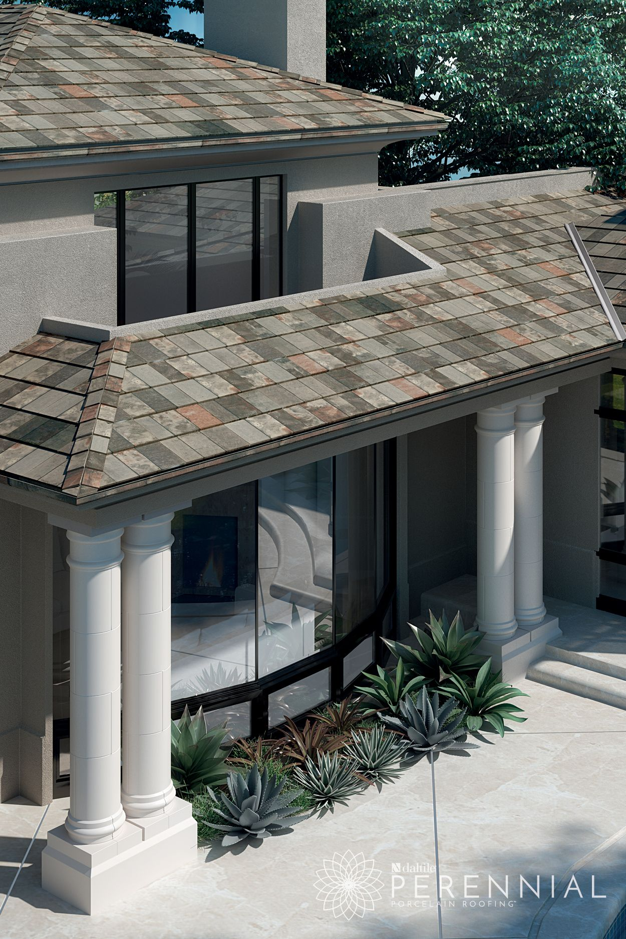 Amazed By The Unique Color Variations In This Perennial Porcelain Roofing Tile Whytile Roofing Architectural Features Ceramic Roof Tiles