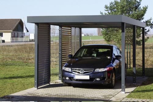 carports uit verzinkt staal met vlak dak carports. Black Bedroom Furniture Sets. Home Design Ideas