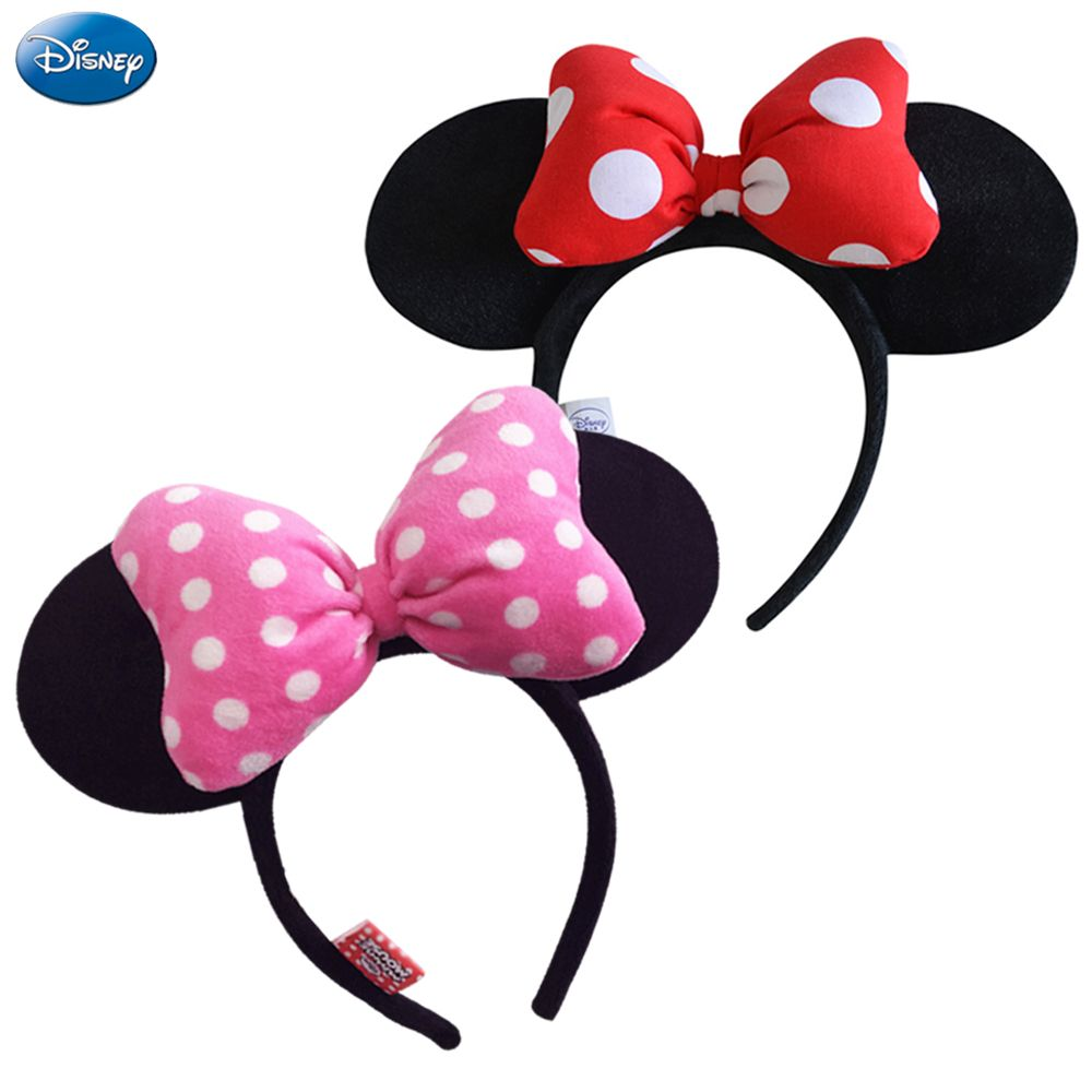 Disney Original Headdress Head Hoop Mickey Minnie Mouse Ears Girls Hair  Bands Head Hoop Plush Toys Bag Keychain For Children 8c19d12a1e1