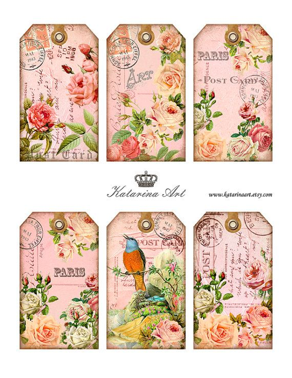 Shabby ROSES Tags Digital Collage Sheet Printable Gift Tags, Hang