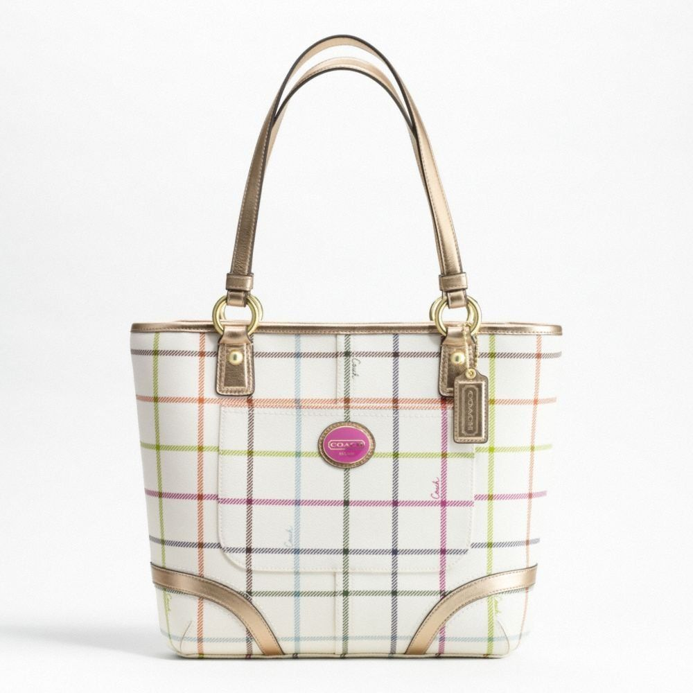 Coach chelsea heritage coated canvas tattersall tote bag