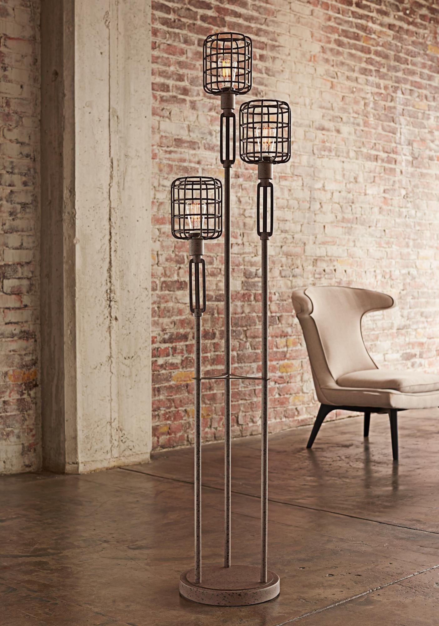 Industrial Cage Rust Metal Floor Lamp Industrial Floor Lamps Industrial Flooring Floor Lamp Design