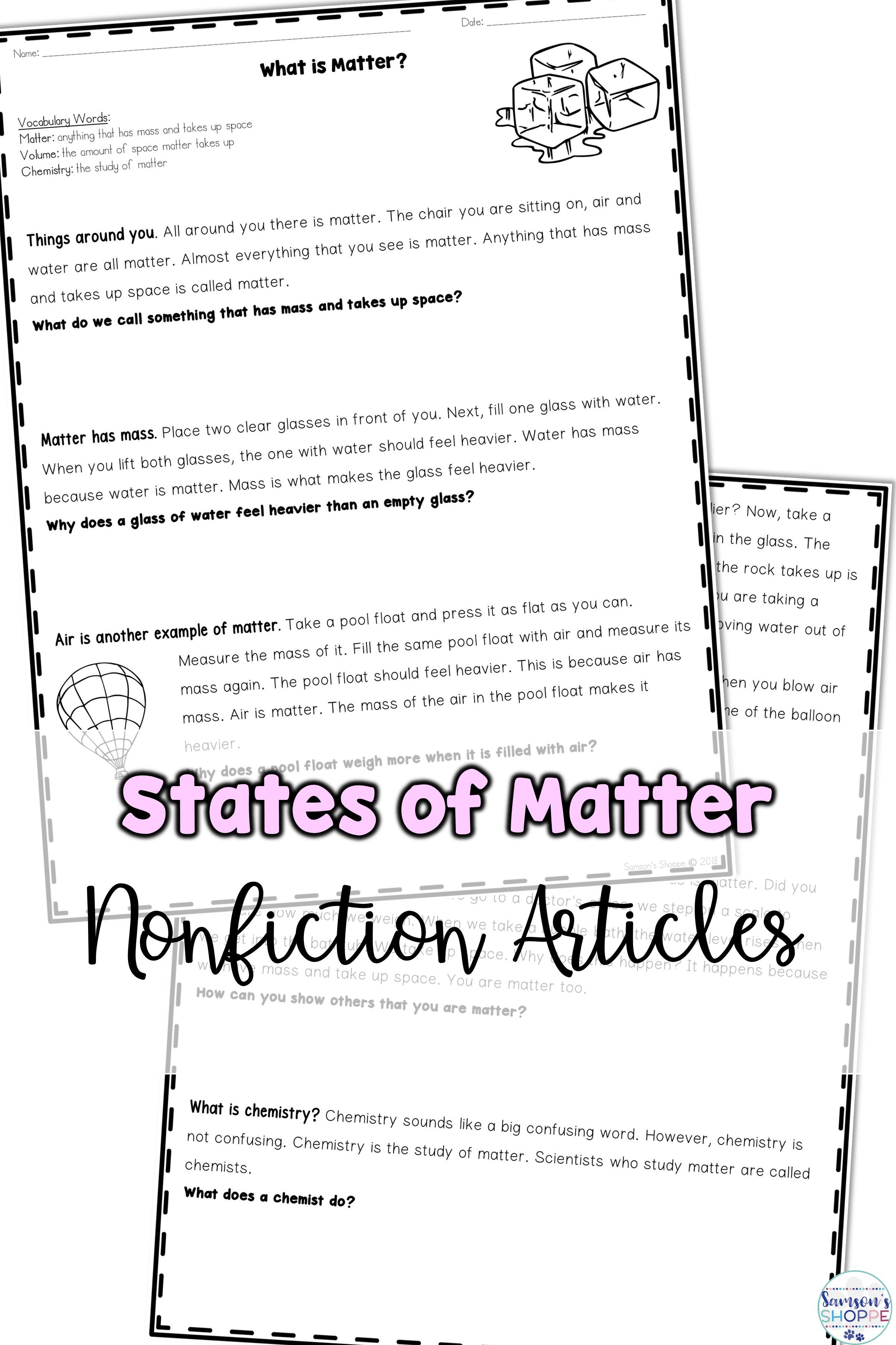 Worksheets Phases Of Matter Worksheet states of matter nonfiction article worksheet packet middle school encourage reading while covering solid liquid and gases using these informative text worksheets
