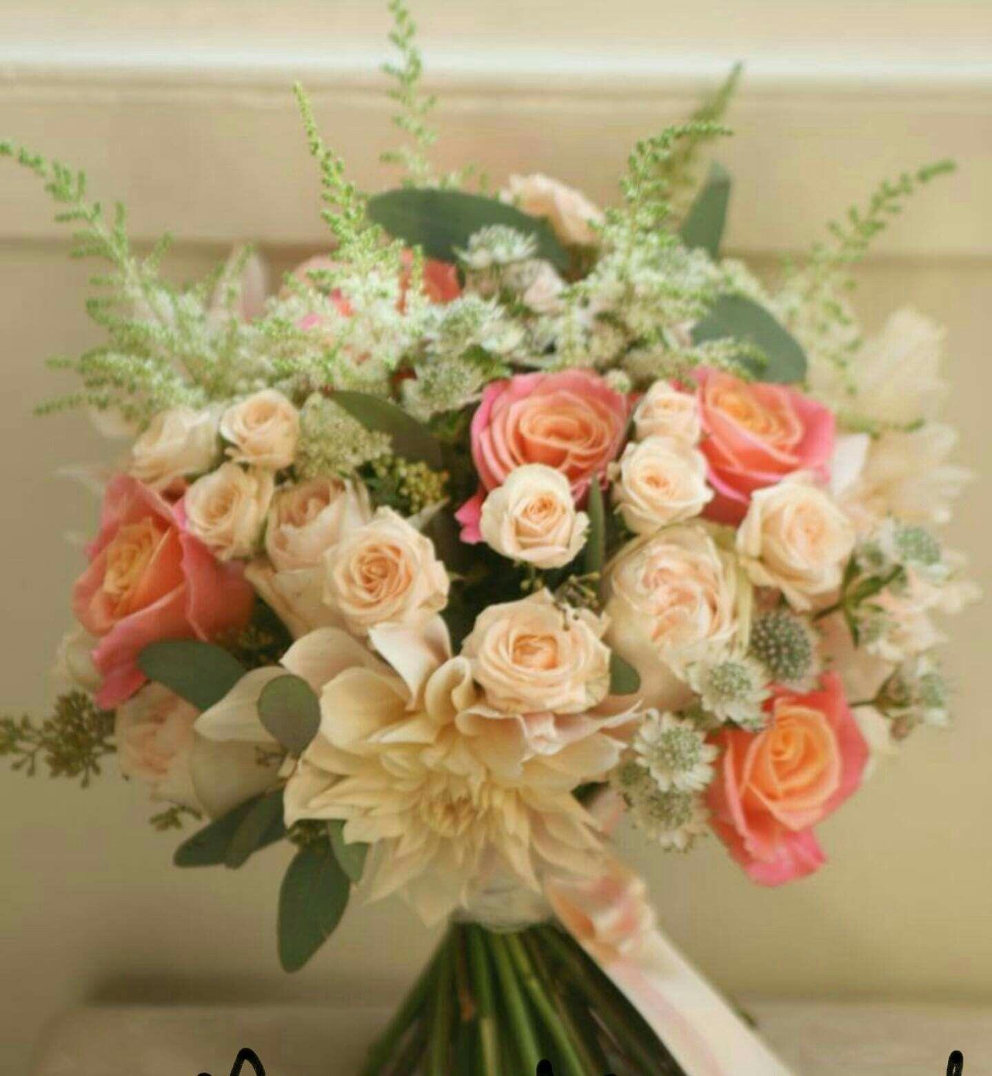 Peach Wedding Flowers, Flower Bouquet