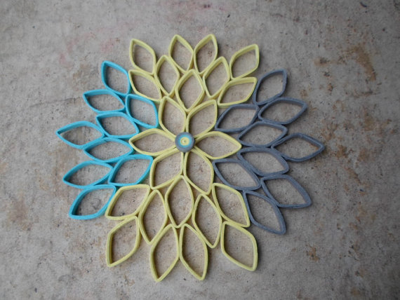Dahlia Wall Hanging In Yellow Blue Gray Modern Home Decor Bedroom