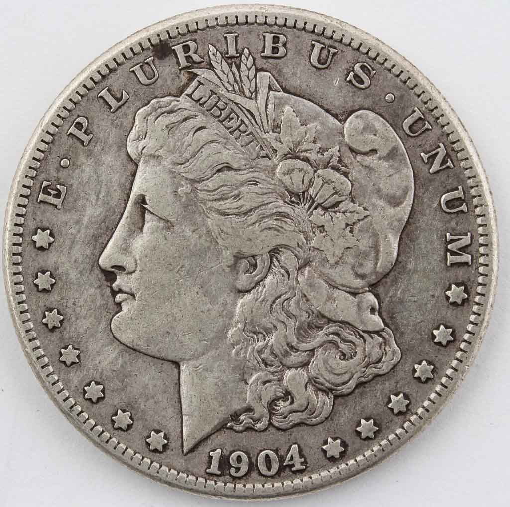 Lot 102 in the 8.19.14 online & live auction! 1904-S Morgan Silver Dollar, consignor graded Very Fine/ VF condition, San Francisco mintage of 2,304,000. Beautiful coin with a scarce date, outstanding addition to any collection. #Coin #Currency #Bullion #Money #POGAuctions