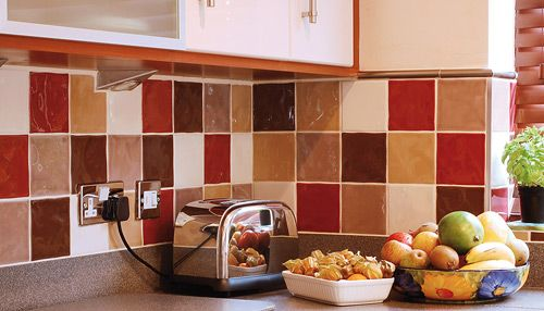 Colored Kitchen Tiles - in a mixed color tiles pattern ...