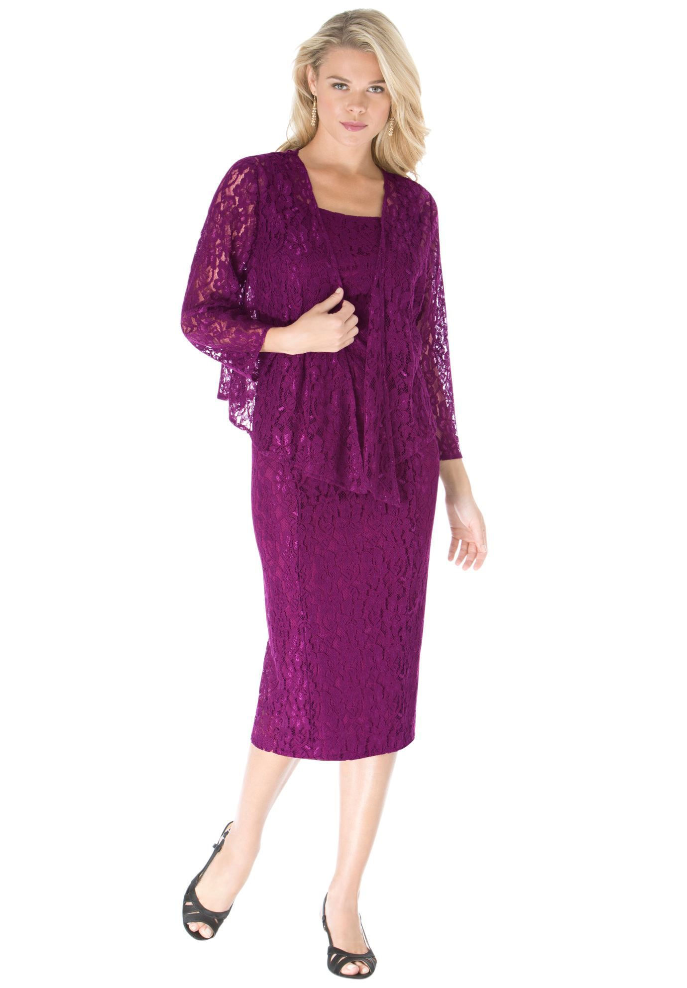 Lace Jacket Dress | Plus Size Special Occasion | Roamans | My Style ...