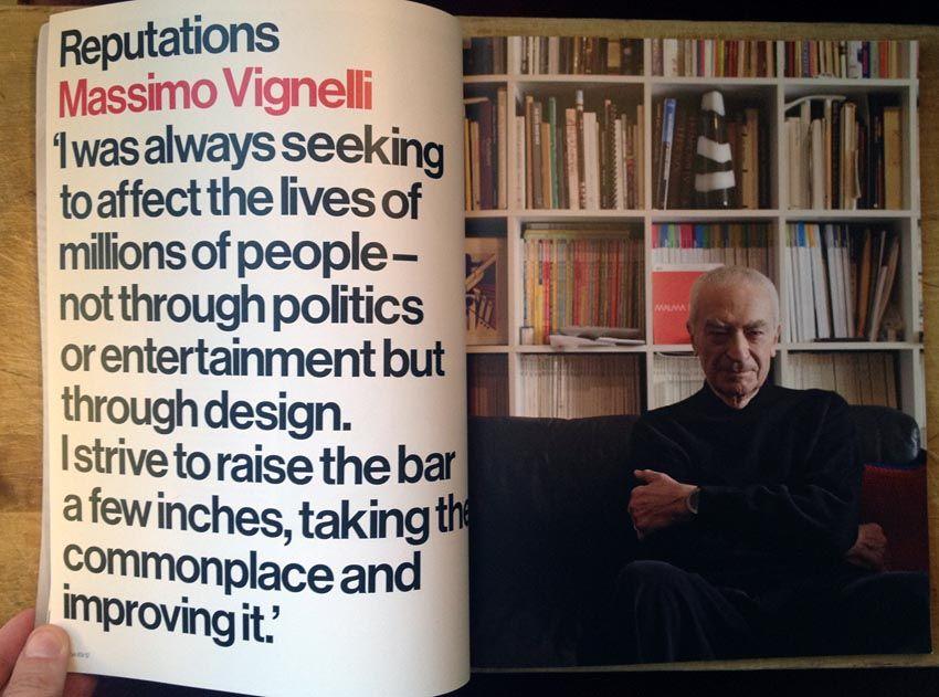 """Interior da edição nº83 da Eye Magazine, com um artigo dedicado a Massimo Vignelli, que afirma que """"sempre procurou afectar a vida de milhões de pessoas não através da política ou entretenimento, mas através do design."""""""