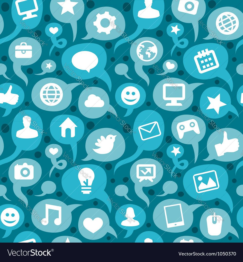 Seamless pattern with social media icons vector image on