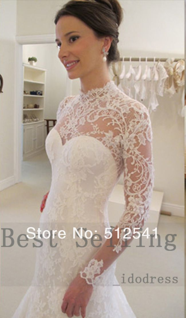 Top Long Sleeves Lace Wedding Dresses Mermaid High Neck