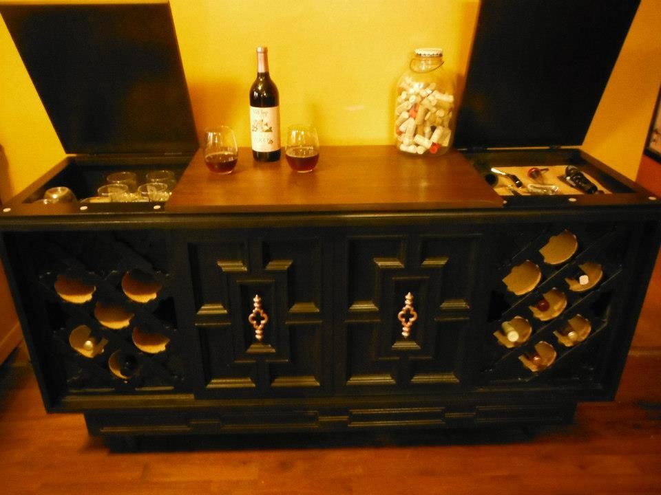 Wine cabinet made from a vintage stereo cabinet. Found at Fresh ...