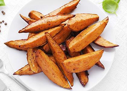 Maple Cinnamon Sweet Potato Wedges
