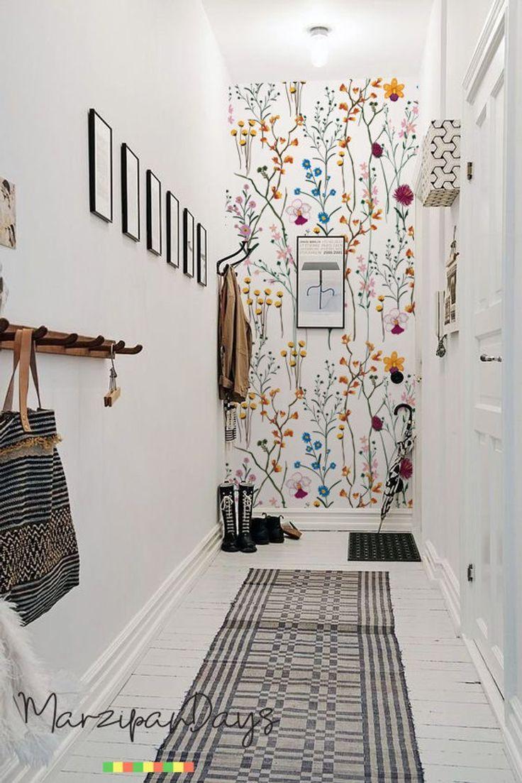 Wilde Blumen abnehmbare Tapete-Garten Blumen Wand Wandbild, Aquarell, helle Tapete, bunte Wand Dekor, Wandaufkleber #89