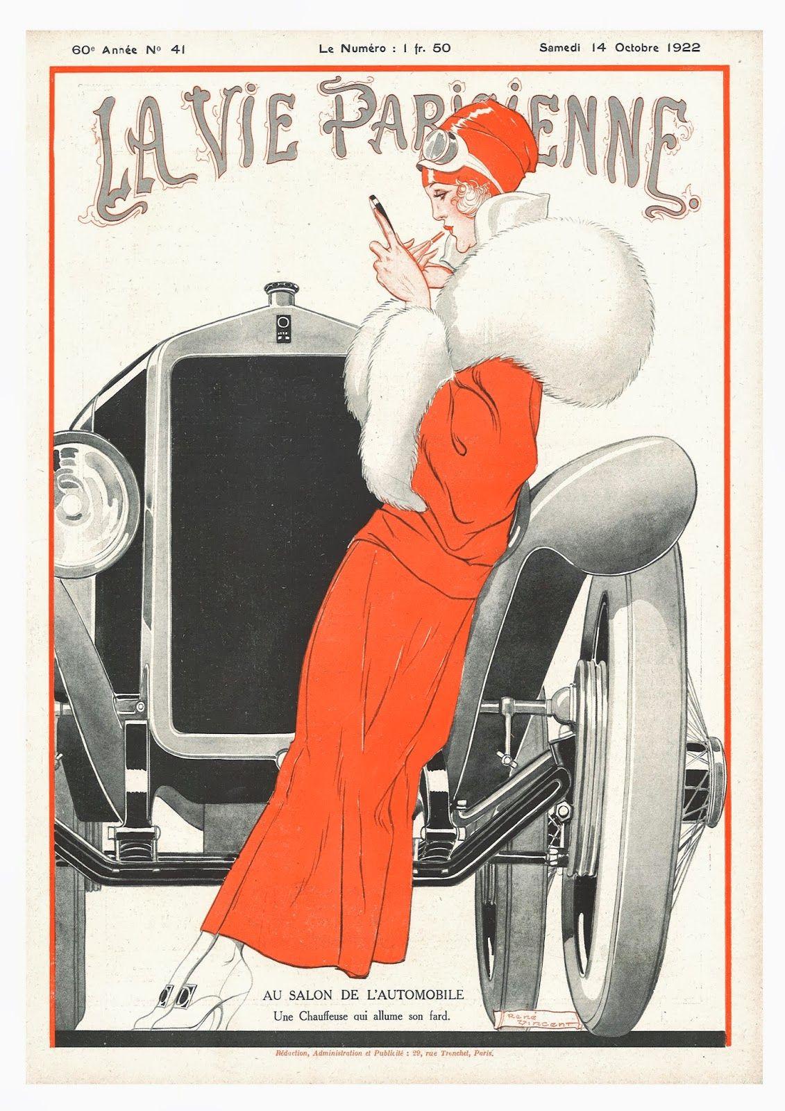 la vie parisienne deco girl with car magazine cover by georges leonnec 14th vintage. Black Bedroom Furniture Sets. Home Design Ideas