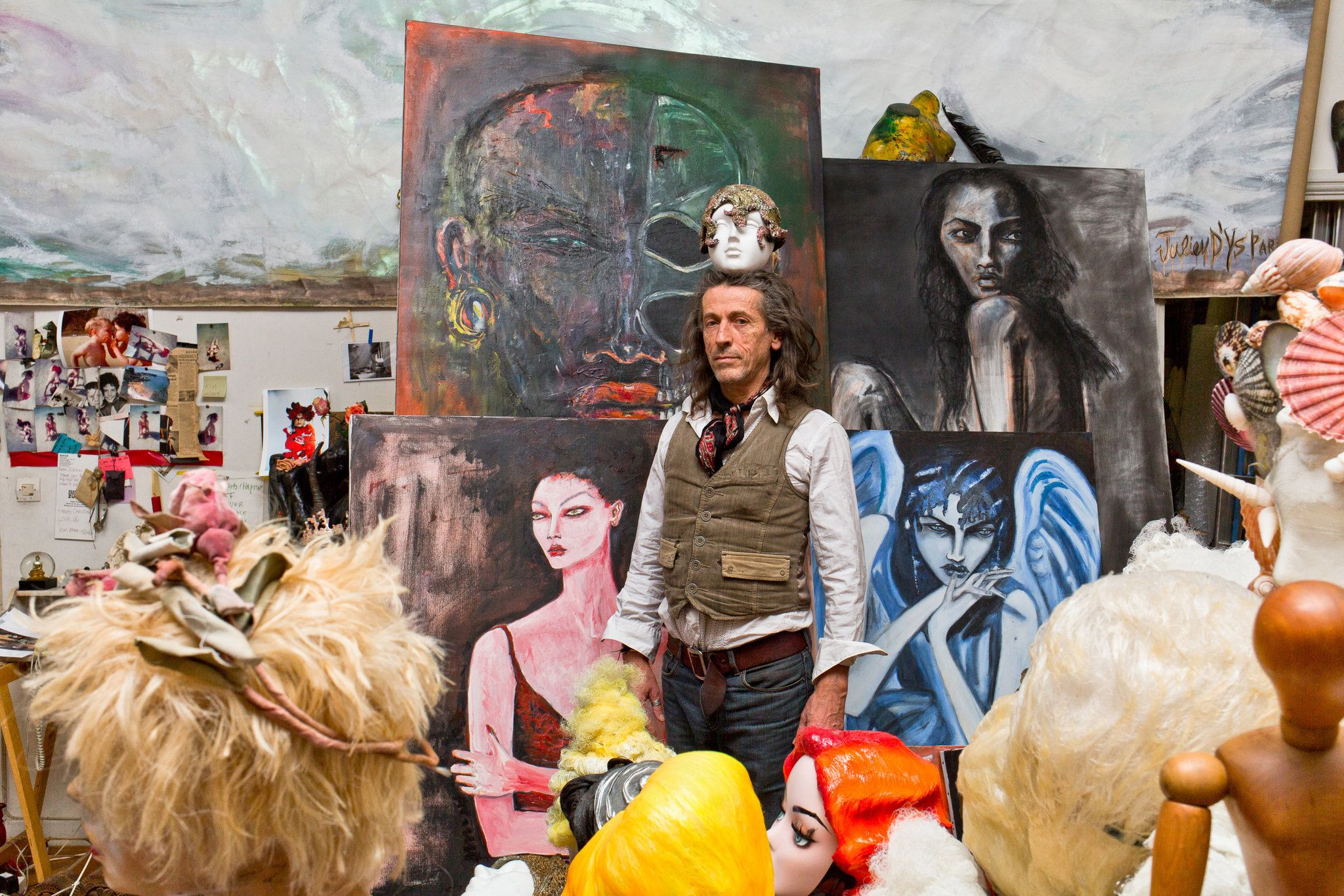 Julien D'ys - his conceptual work with Comme des Garcons, Galliano etc. The eccentric hairstylist and painter brings T into his workspace-meets-cabinet-of-curiosities.