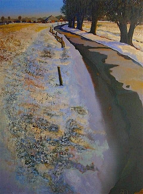 Ton Dubbeldam – Winters Road – oil with dry pastel