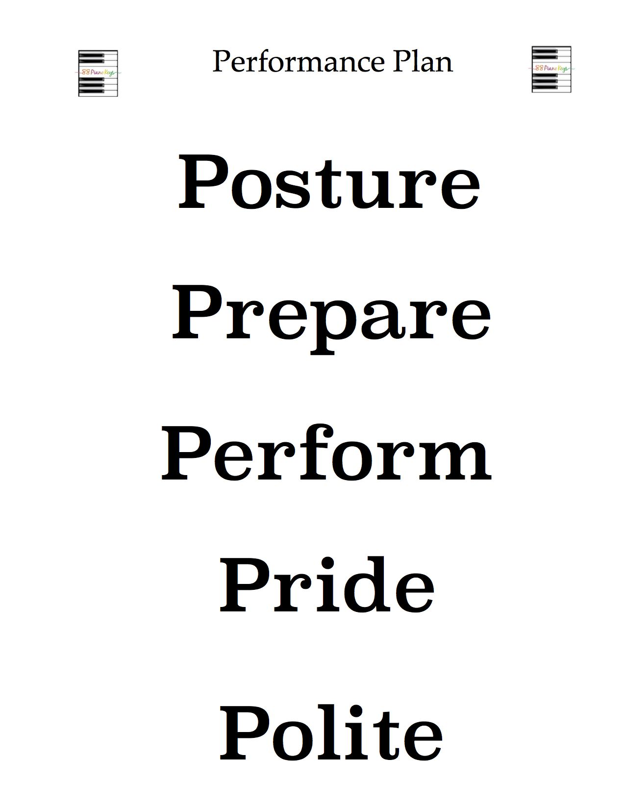 From Head to Toe Performance Tip #1: Five P's of