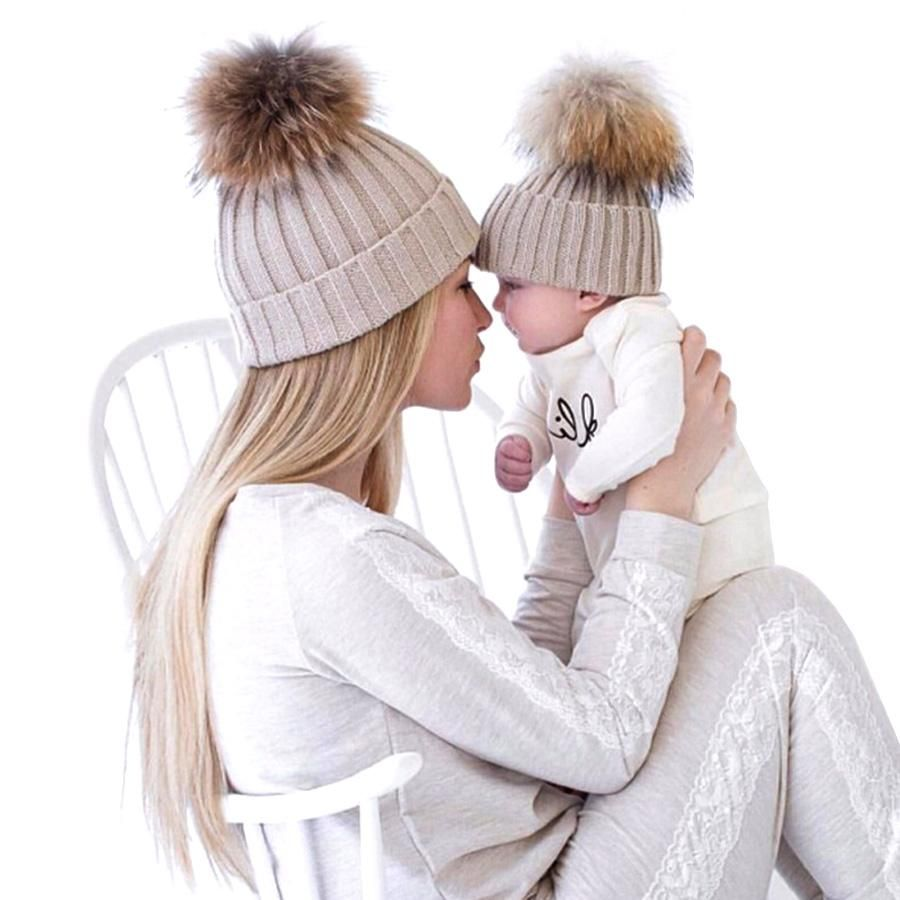 ROSEBEAR Parent-Child Hat Christmas Matching Hat for Mother Kid Winter Pompom Beanie Hat Knit Plaid Hat for mom