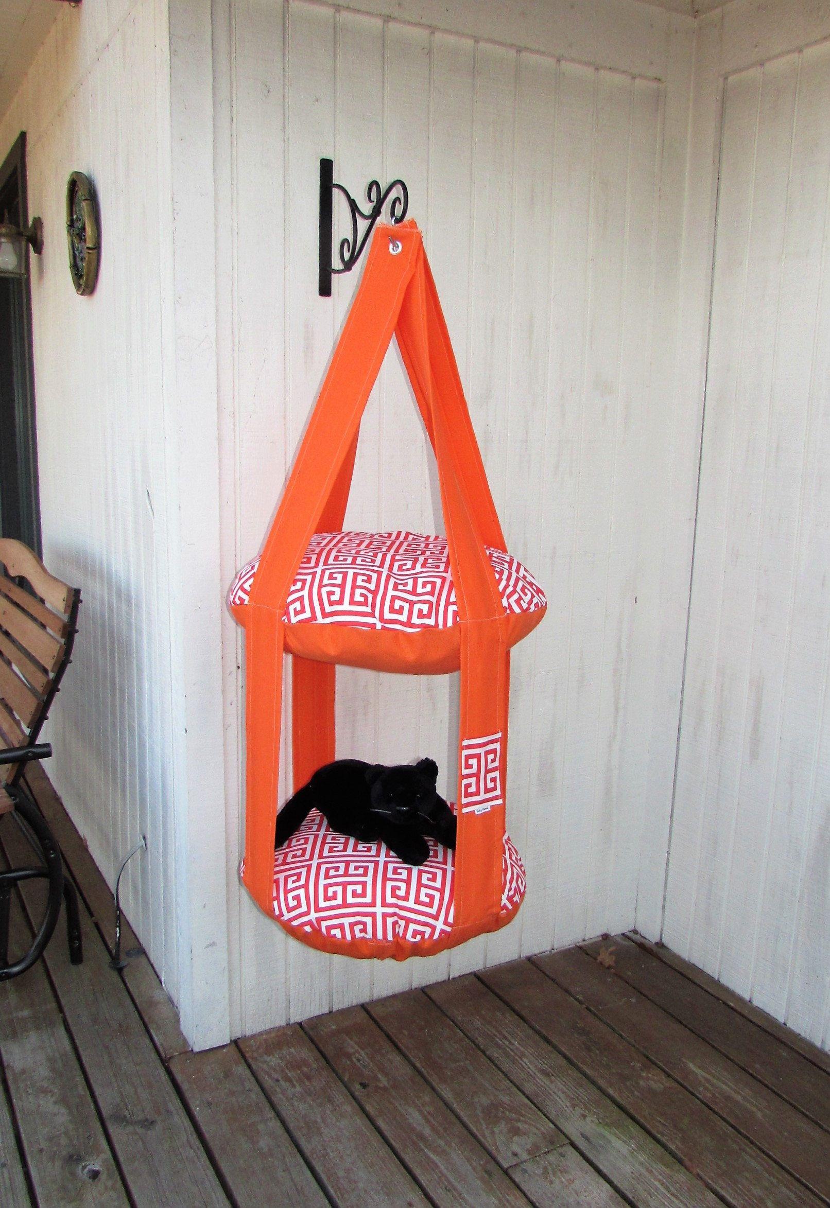 Outdoor Cat Bed Orange Red Greek Key 2 Level Kitty Cloud Hanging Pet Furniture Tree Indoor