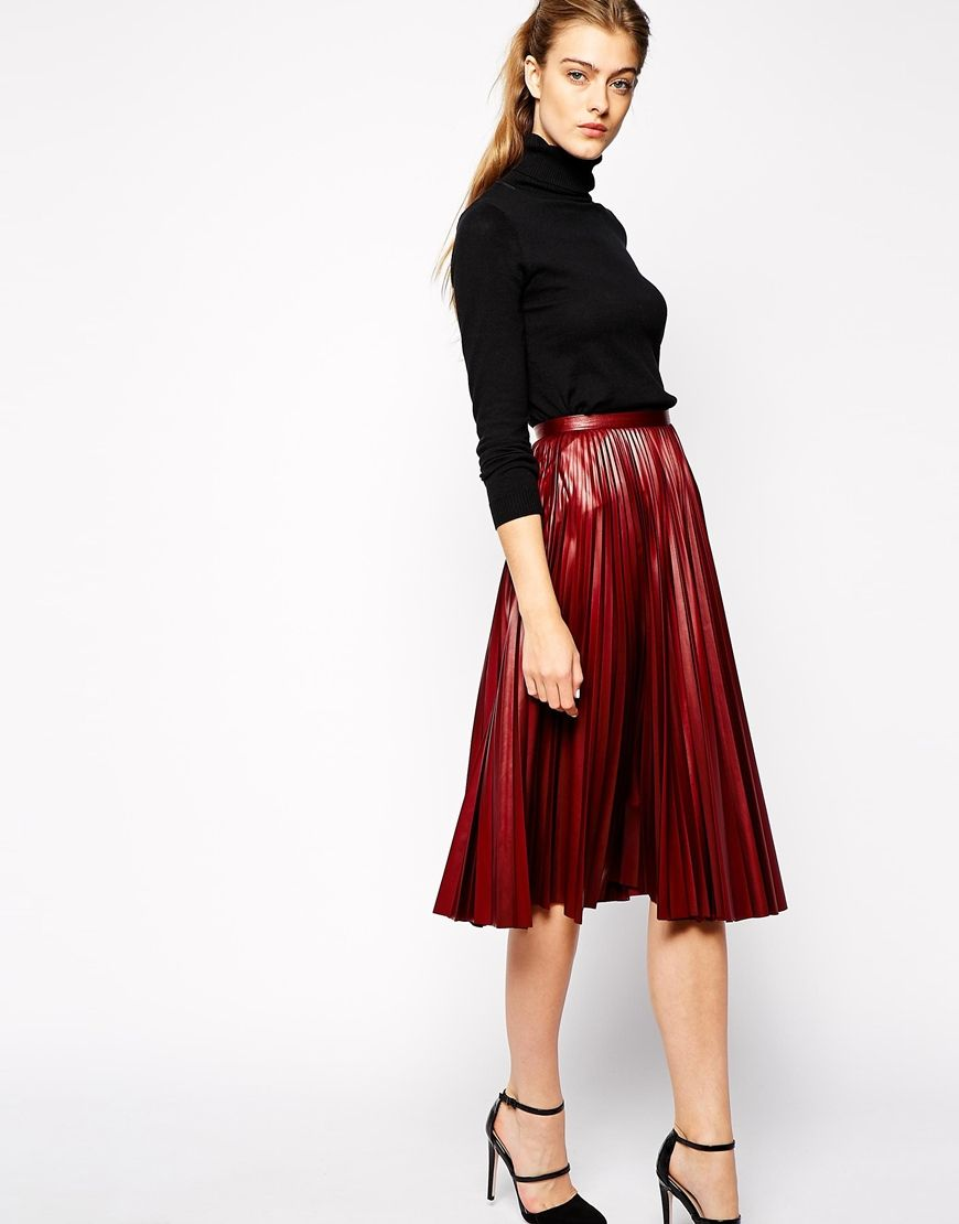 Closet Pleated Metallic Midi Skirt | Clothes | Pinterest | ASOS ...