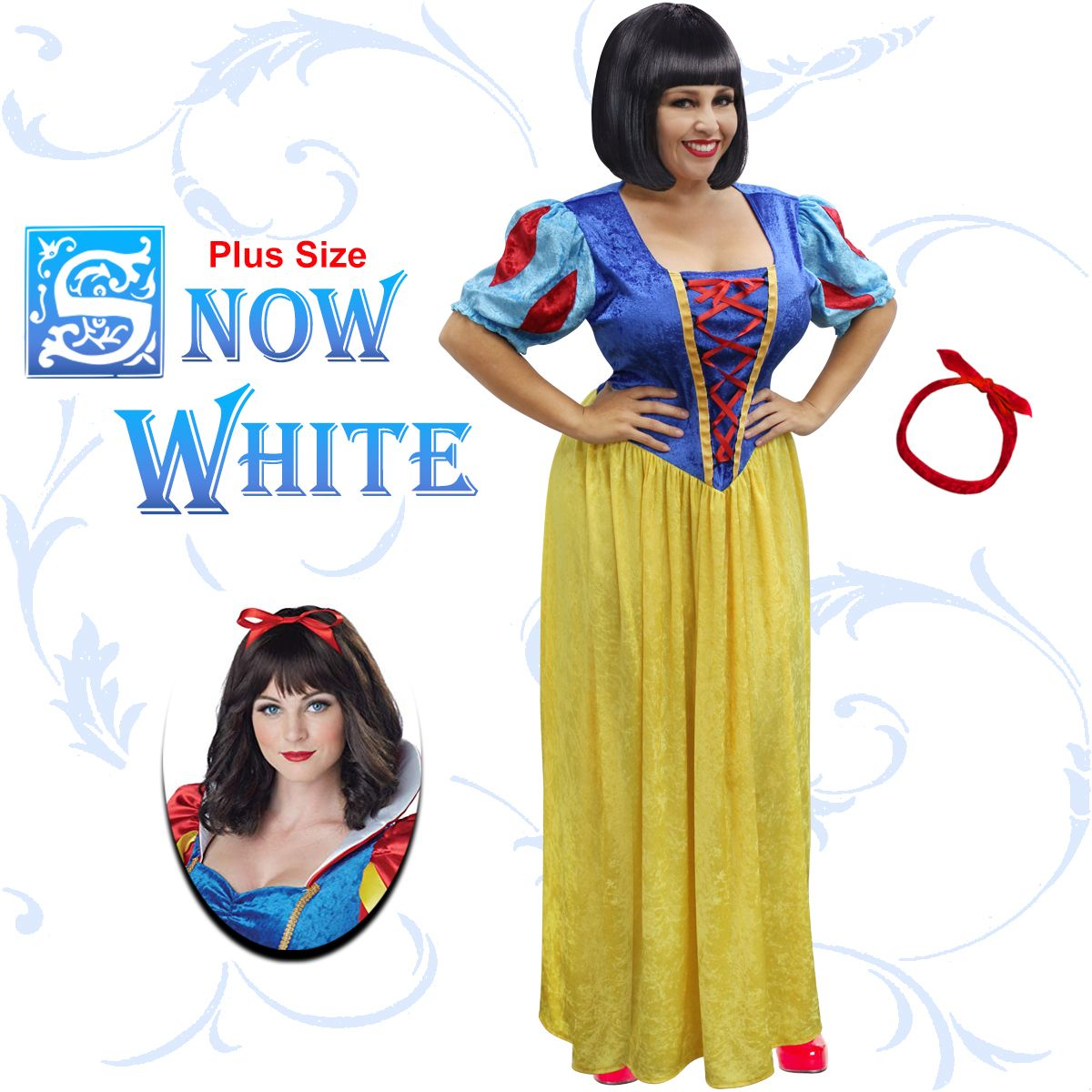 NEW! Plus Size Snow White Halloween Costume Lg XL 1x 2x 3x