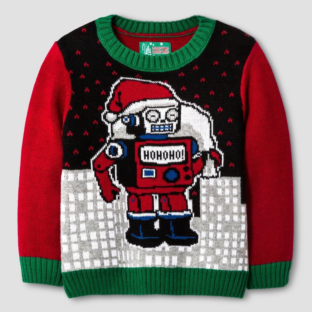 9019664f373a Ugly Christmas Sweater Toddler Boys  Santa Robot Sweater 5T - Black ...