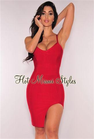 Red Slit Bandage Dress | Pinterest