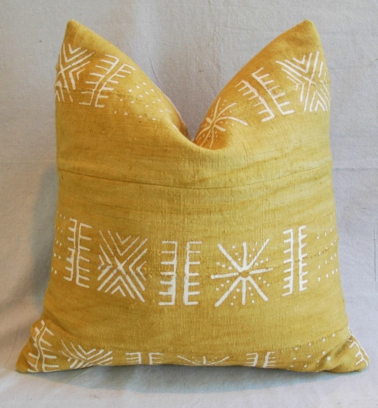 Handwoven Gold & Cream Tribal Down & Feather Pillow on Chairish.com