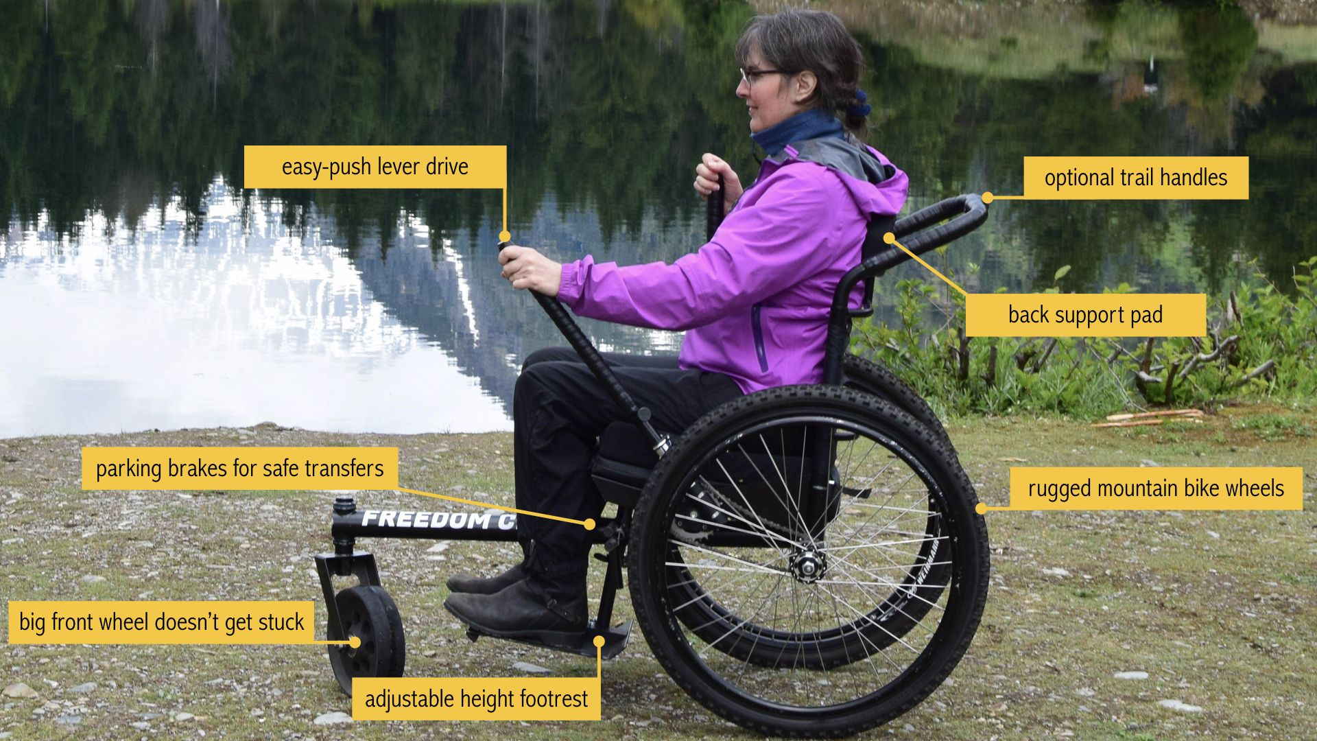 The Grit Freedom Chair S Easy To Push Lever Drive Combines The