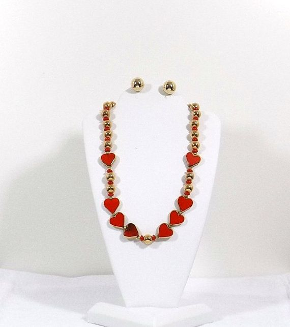 1950's Red Art Glass Hearts Necklace and Earring Set by KatsCache, $74.95