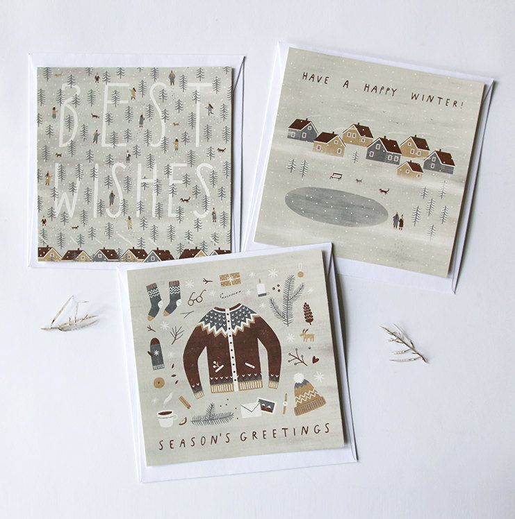 set of 3 winter postcards size 135 135 mm digital print of my