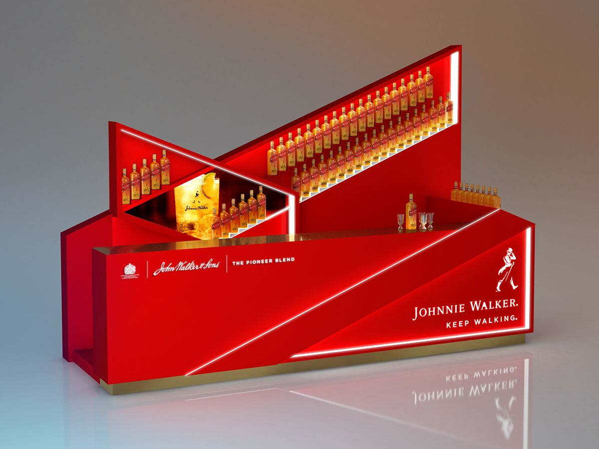 Design Bar Rack For Johnnie Walker Red Lable On Behance Bar Design Johnnie Walker Bar Rack