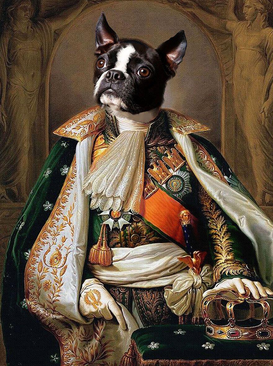 Royal pet portrait custom Renaissance dog canvas art