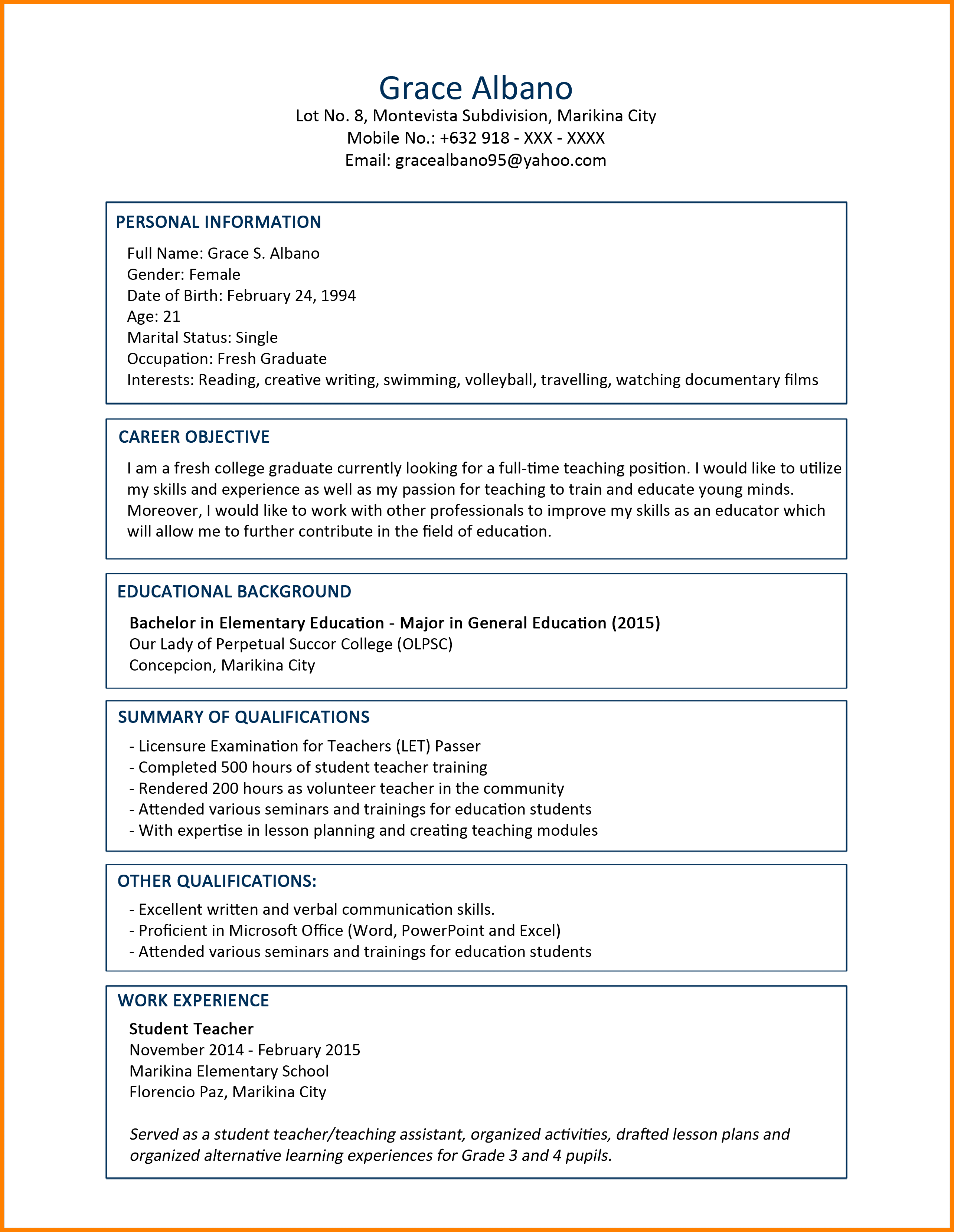 Sample Resume Format For Fresh Graduates Sample Resume Format For Fresh Graduates Sample Resume Format Foresh Graduates O Referensi Desain Posting Inspirasi