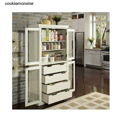 Free Standing White Cabinet Kitchen Pantry Storage Drawers