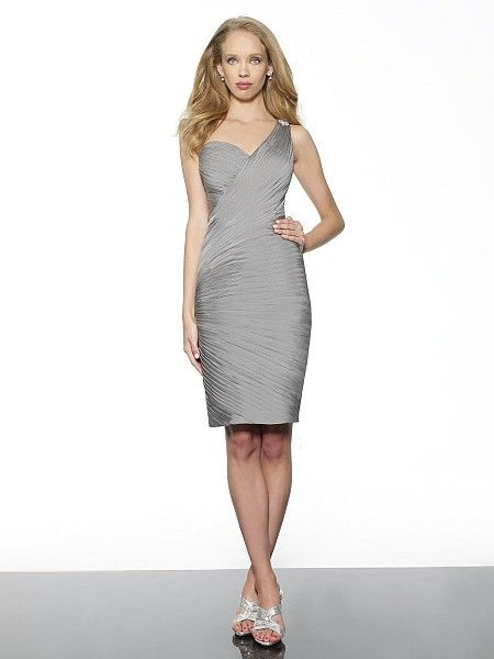 One Shoulder Knee Length Elastic Satin Pleating Sheath Column Grey Wedding Guest Bridesmaid Dress P1va0012